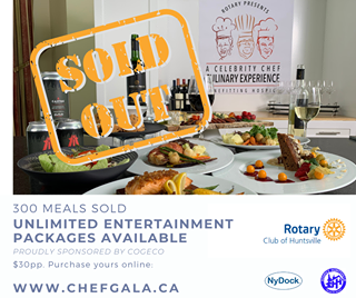 """May be an image of 2 people and text that says """"ROTARY PRESENTS SOID CELEBRITY CHEF RULINARY EXPERIENCE CANVAS S ガ OUTH NEFITTING HOSPIC 300 MEALS SOLD UNLIMITED ENTERTAINMENT PACKAGES AVAILABLE PROUDLY SPONSORED BY COGECO $30pp. Purchase yours online: Rotary Club of Huntsville WWW.CHEFGALA.CA HUNTSY NyDock"""""""